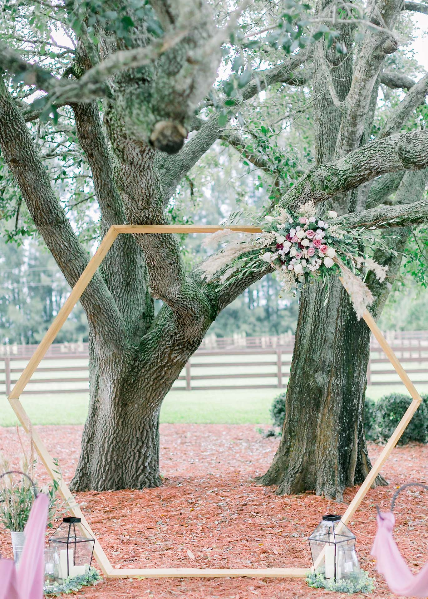 Masters Stables outdoor tree shaded wedding venue chairs-4