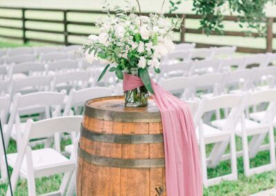 Masters Stables outdoor tree shaded wedding venue chairs-6 Rustic Barrel