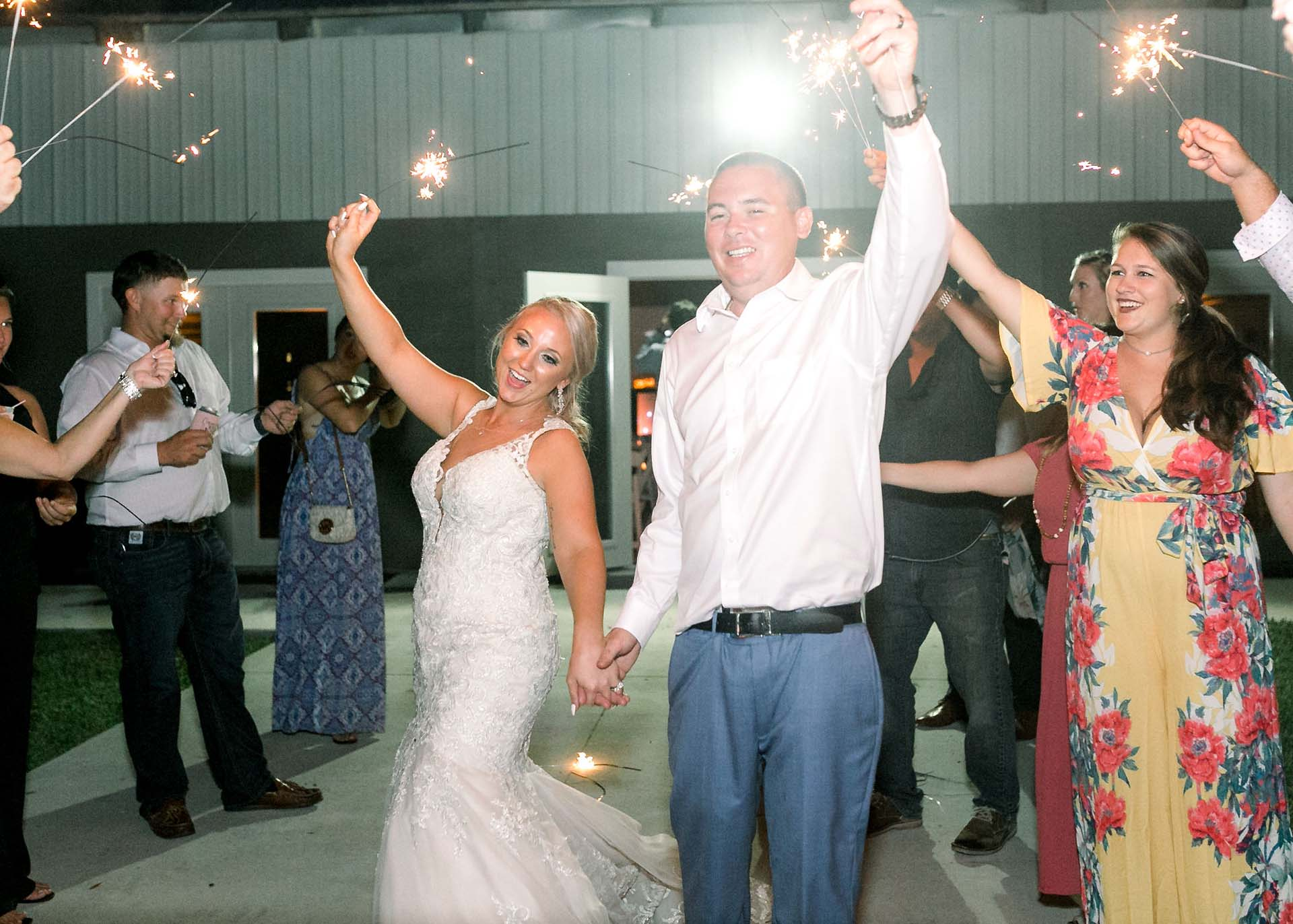 Masters Stables wedding venue air conditioned barn-14 reception sparkler wedding exit